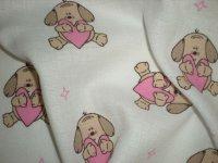 Plienka vzorovaná psík ružové srdce
