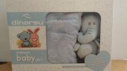 Velurová detská deka s hračkou modrá