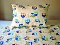 Detské postelné prádlo sova béžova
